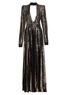 Elie Saab Metallic Sequin Tulle Gown