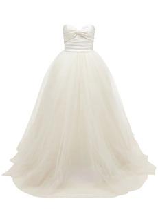 Elie Saab Mikado Strapless Tulle Gown