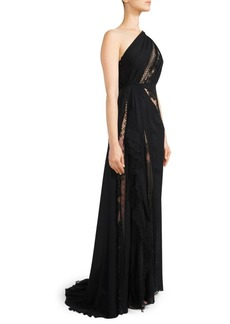 Elie Saab One-Shoulder Chiffon & Lace Gown