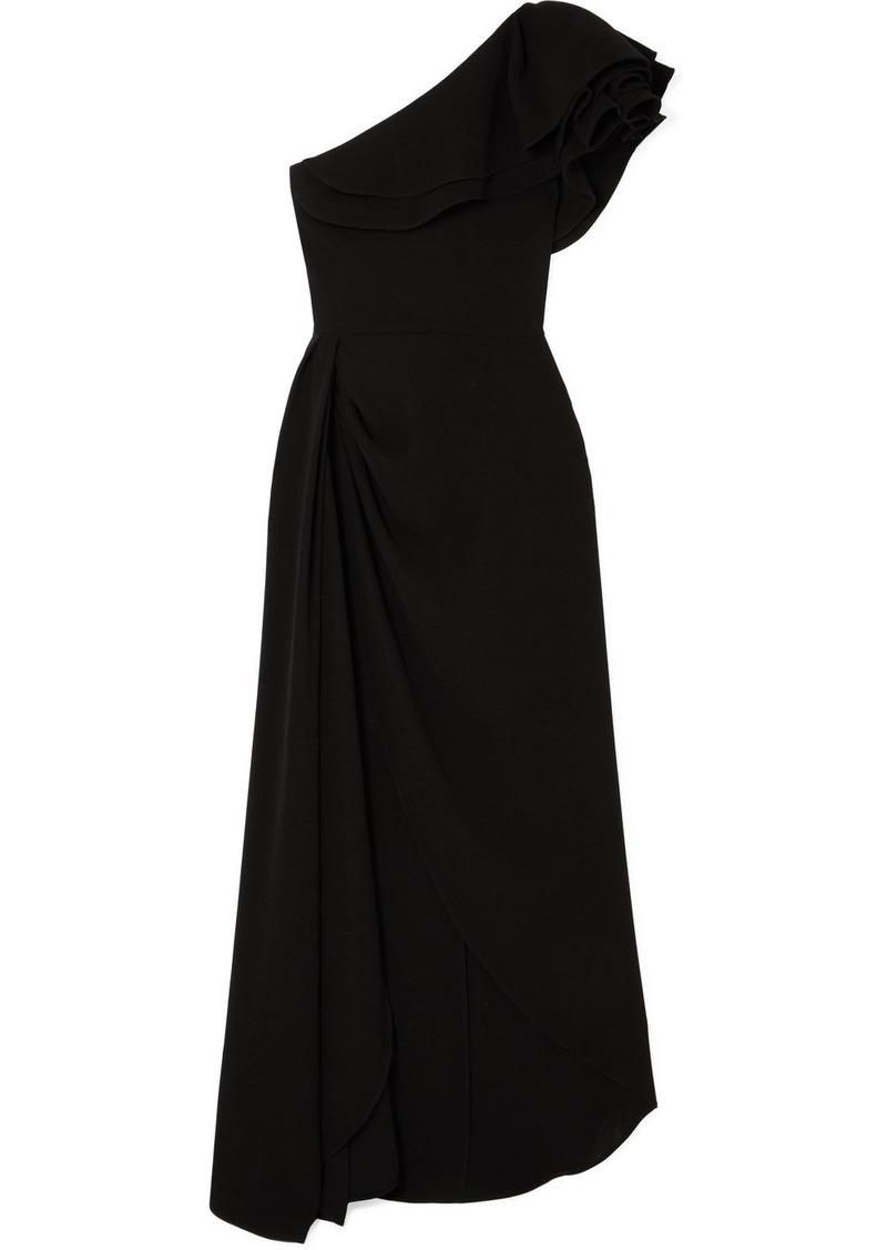 Elie Saab One-shoulder Ruffled Cady Gown