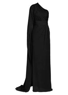 Elie Saab One-Shoulder Silk Chiffon Cape Gown