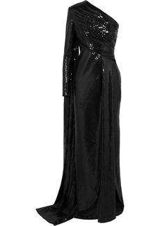 Elie Saab One-sleeve Draped Sequined Tulle Gown