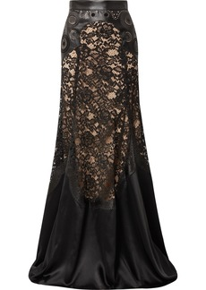 Elie Saab Paneled Laser-cut Satin And Corded Lace Maxi Skirt