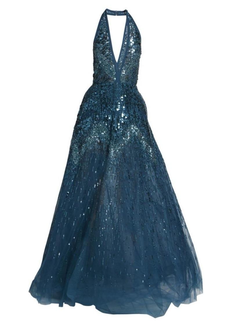 Elie Saab Sequin Halter Ball Gown