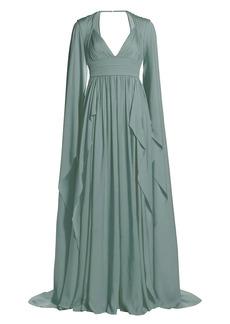 Elie Saab Silk Chiffon Cape Sleeve Gown