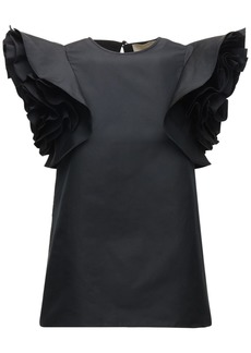 Elie Saab Taffeta Top W/ Ruffled Sleeves