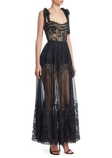 Elie Saab Tie Shoulder Sheer Lace Gown