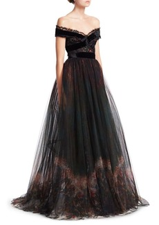 Elie Saab Tulle & Lace Full Skirted Gown