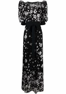 Elie Saab tulle floral-embroidered puff-sleeve dress