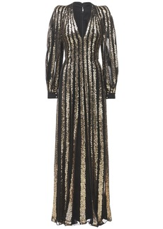 Elie Saab Yarn Embroidered Tulle Long Dress