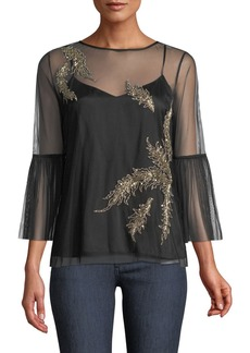 Elie Tahari Adela Embroidered-Tulle Blouse