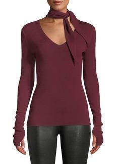 Elie Tahari Adelise Ribbed Sweater w/ Scarf