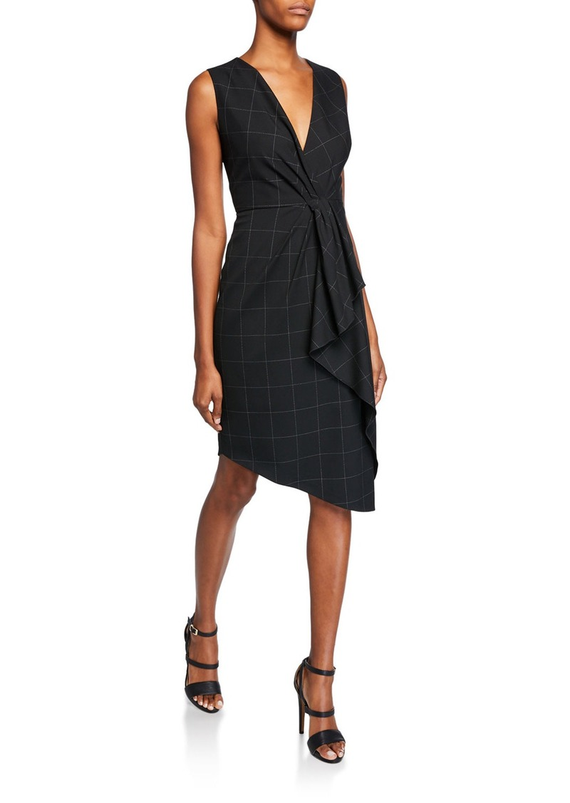 Elie Tahari Adrianne V-Neck Sleeveless Asymmetric Grid Dress w/ Flounce Detail