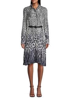 Elie Tahari Aisha Leopard-Print Belted Shirtdress