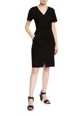 Elie Tahari Alessandra V-Neck Short-Sleeve Ponte Dress