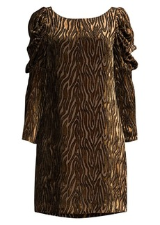 Elie Tahari Alex Metallic Velvet Puff-Sleeve Dress