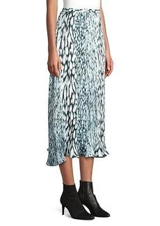 Elie Tahari Alex Pleated Printed Tie-Dye Skirt