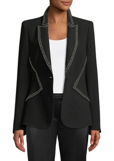 Elie Tahari Allegra One-Button Crepe Jacket w/ Studs
