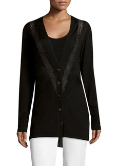 Elie Tahari Amber Lace-Accented Merino Wool Cardigan
