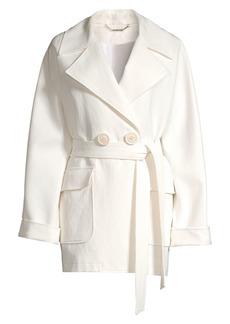Elie Tahari Amelie Crinkle Linen-Blend Belted Jacket