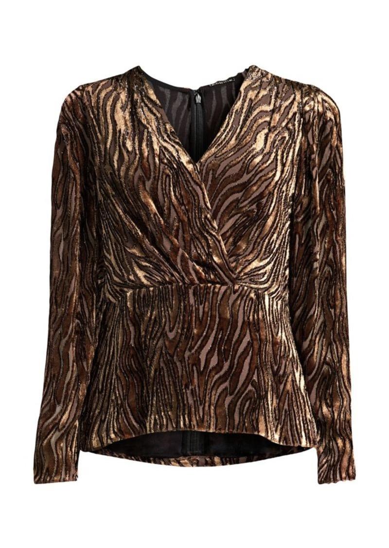 Elie Tahari Amit Metallic Velvet Jacquard Zebra Silk-Blend Peplum Blouse
