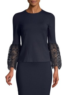Elie Tahari Amora Lace-Sleeve Ponte Top