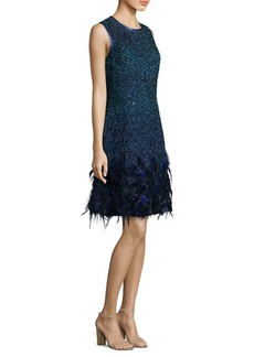 Elie Tahari Anabelle Feathered Dress