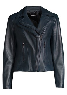 Elie Tahari Angalie Whipstiched Leather Biker Jacket