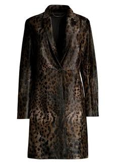 Elie Tahari Angelina Calf Hair Leopard Print Coat