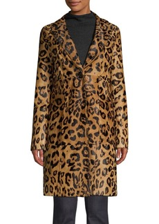 Elie Tahari Angelina Leopard Print Calf Hair Coat