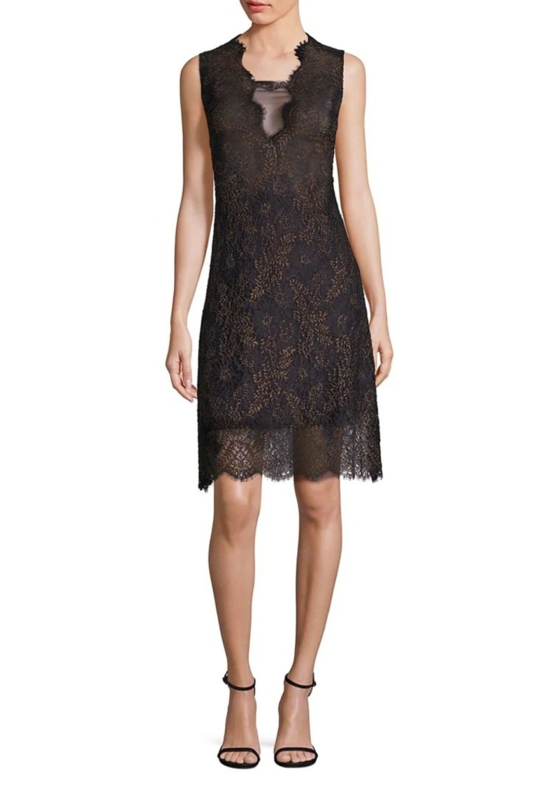Elie Tahari Anne Metallic Lace Dress