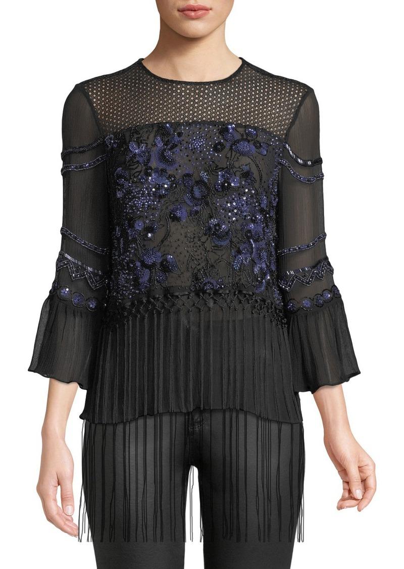 Elie Tahari Aslin Long-Sleeve Embellished Silk Blouse w/ Fringe Hem