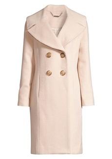 Elie Tahari Athena Double Breasted Brushed Wool-Blend Coat