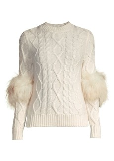 Elie Tahari Audrey Silver Fox Fur Cable-Knit Merino Wool Sweater