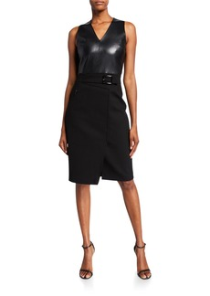 Elie Tahari Auriana Sleeveless Leather-Bodice Dress