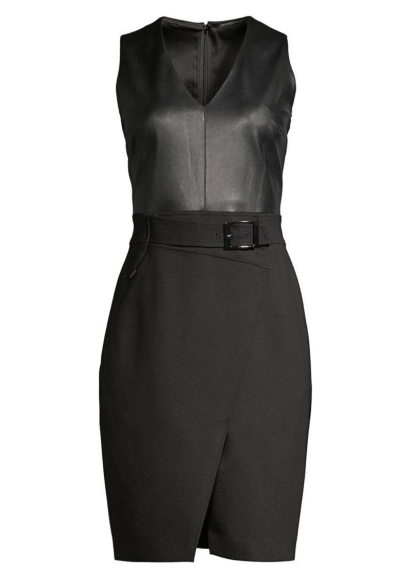 Elie Tahari Aurianna Belted Leather Combo Faux Wrap Sheath Dress