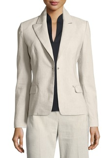 Elie Tahari Ava Fitted One-Button Blazer