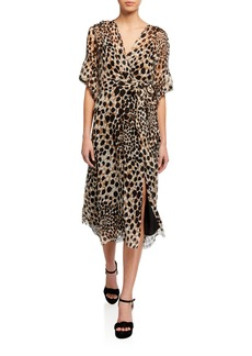 Elie Tahari Ava Leopard-Print Short-Sleeve Dress
