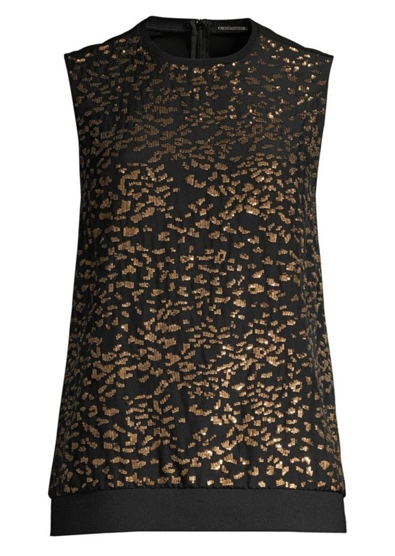 Elie Tahari Azelia Sequin Leopard Sleeveless Silk Blouse