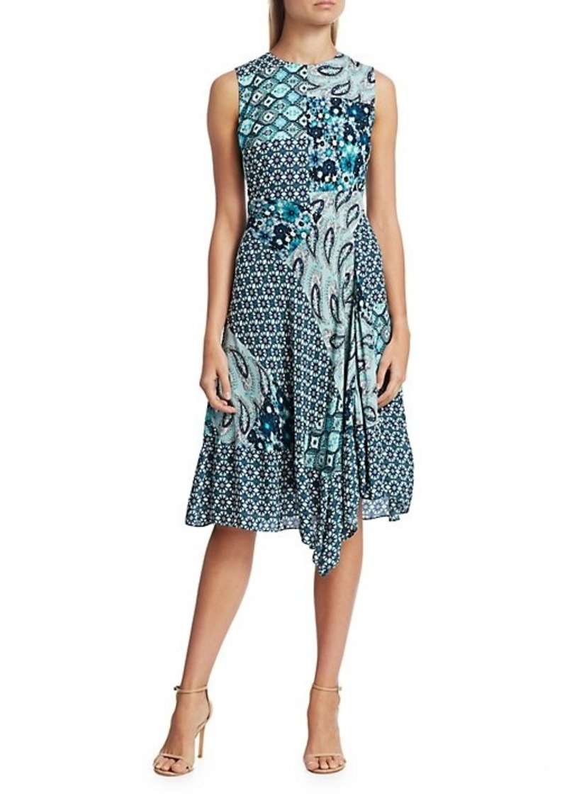 Elie Tahari Azure Mixed Print A-line Dress