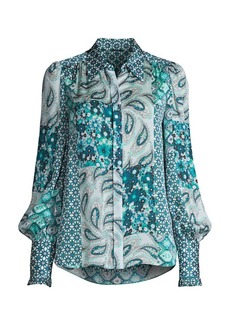 Elie Tahari Beck Print Puff-Sleeve Silk Shirt