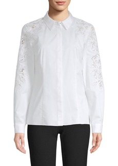 Elie Tahari Behati Embroidered Poplin Shirt