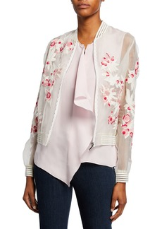 Elie Tahari Brandy Embroidered Silk Bomber Jacket