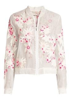 Elie Tahari Brandy Floral Applique Silk Bomber