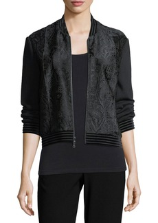 Elie Tahari Brandy Velvet-Trim Calf Hair Bomber Jacket