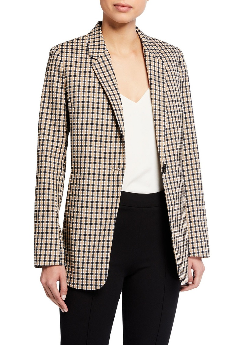 Elie Tahari Bree Check One-Button Jacket