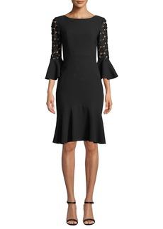 Elie Tahari Bri Crochet-Sleeve Dress