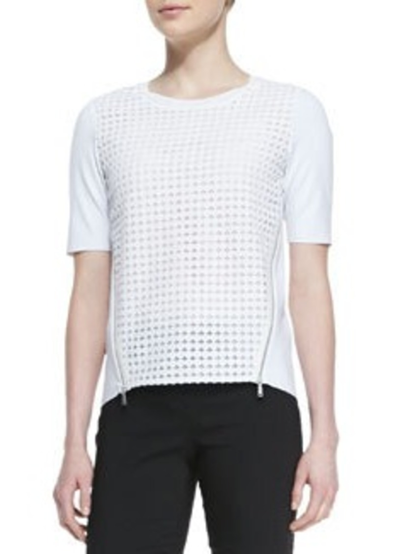 Elie Tahari Brinson Perforated-Front Blouse with Zip Sides   Brinson Perforated-Front Blouse with Zip Sides