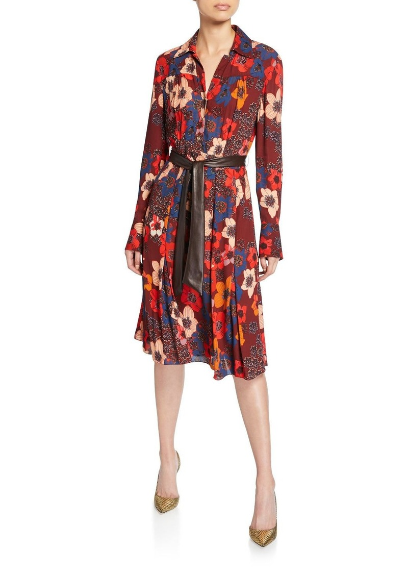 Elie Tahari Brinx Floral Long-Sleeve Dress w/ Faux Leather Belt