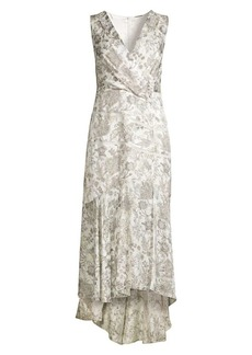 Elie Tahari Brittney Floral Lace Eyelet Midi Wrap Dress